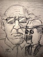 Ventriloquist and Scarface (pen sketch) by myconius