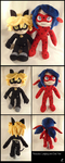 Ladybug and Chat Noir Plushies by DizzieFox