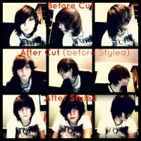 Hair Cut - Before and After (and styling) by pyromantic-prince