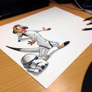 Storm trooper Timon pencil drawing by AtomiccircuS