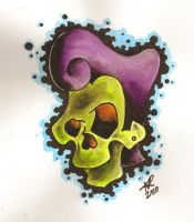 rockabilly skull by oldschool-sinner