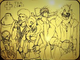 Teal Cross Group Shot Sketch by PhiTuS