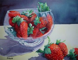 Strawberries in a glass bowl 2 by p-e-a-k