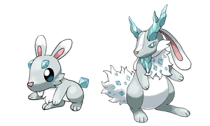 Ice Jacklope fakemon by Hyshirey