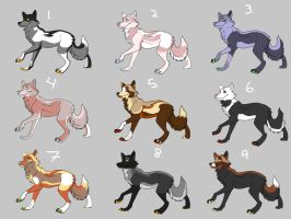 Wolf Adoptables Pack 2 by anime-fan-addict