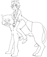 Nepeta and Pounce linework by Daynightmare