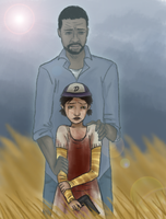 The Walking Dead (game) Lee(ghost) and Clementine by Daryl-Dixions-Pancho