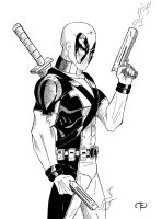 Deadpool inked sketch by 0Anonymous0