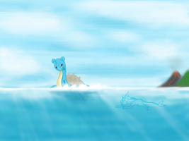Lapras and Vaporeon - An unexpected encounter. by Kboomz