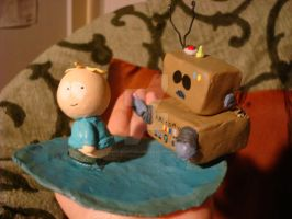 Awesom-O and Butters Sculpture by thearmsofthesamesea