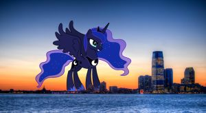Princess Luna comes to city by OtterP