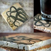 Tentacle Drink Coasters, handmade, tumbled marble by NeverlandJewelry