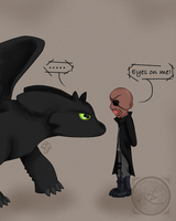 Night Fury (Toothless) meets Nick Fury by Queenezha4