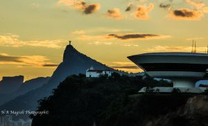 Redentor Christ in golden sky by HenriqueAMagioli