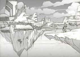 Floating city sketch by javieralcalde