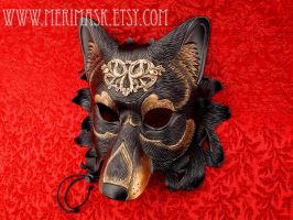 Regal Dire Wolf brass on black leather by merimask