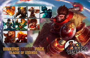 League of Legends Wukong Render Pack by ViciousBlue