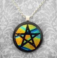 Streaky Pentacle Glass Pendant by poisons-sanity