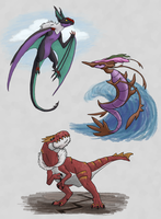 Team Y Dragons - Land, Sea and Sky by Chari-Artist