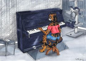 Cheetah on a Piano by StarlightsMarti