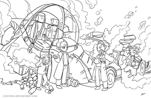 Back to the Future - Rick and Morty - Lineart by caycowa