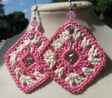 Pink and bridal white granny square earrings by doilydeas