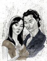 "LOST sketch ""Sun and Jin"" by J-Scott-Campbell"