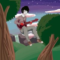 Marshall Lee and his bass by ripe-applez