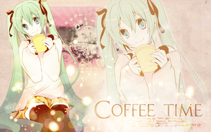 Cofee time + Miku wallpaper by TheHopeMaker