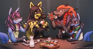 Sushi with Friends by ElRocArt