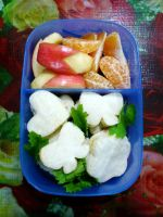 egg cheese sandwich bunny apple bento by plainordinary1