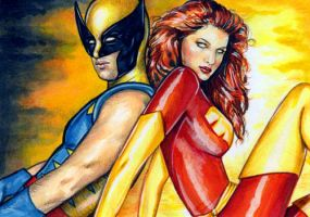 Wolverine Phoenix Sketch Cards by veripwolf