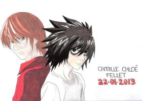 L Lawliet and Light Yagami (DEATH NOTE) by CobraxKinana