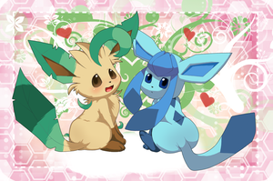 :Leafeon + Glaceon: by Miss-Gardenia