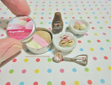 Dollhouse Miniature Neapolitan Ice Cream by ilovelittlethings