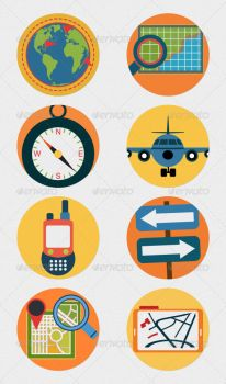 Mobile GPS Navigation Icons Flat Illustrations by CURSORCH