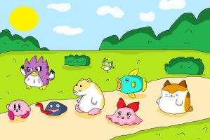 kirby and friends by ninpeachlover