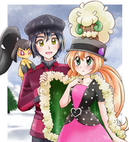 Pokemon trainers and pokemon-commission by chikorita85