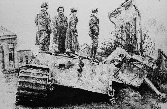 soviet soldiers on the destoried king tiger. by lhlclllx97