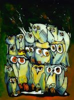 Autumn Owls - reverse glass painting by Loki-Liesmith