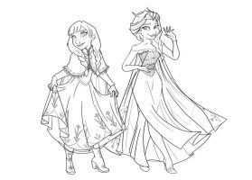 Frozen Sisters - Ink by Chansey123
