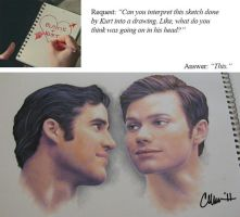 Blaine + Kurt Drawing by Live4ArtInLA