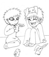 Gaara x Naruto with Bunnies by Batsu13angel