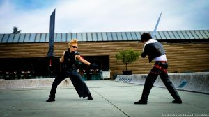 Cloud Strife and Squall Leonhart Cosplay by EduardLuzhetskiy