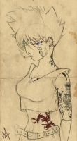 Badass Chick With Tats - Lines by Iza-nagi