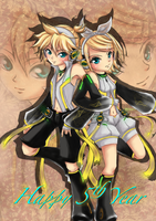 [VOCALOID] Len and Rin 5th year by HunterK