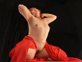1834-LCW Sensual Mature Woman Aroused in Red by artonline
