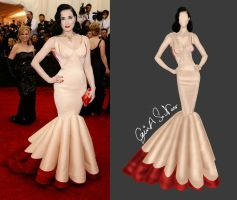my new illustration Dita von Teese in Zac Posen by S-NASR