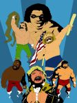Old School Wrestlers Blue by soliton