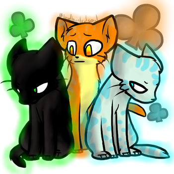 Hollyleaf, Lionblaze, and Jayfeather by Mistykittyartist829